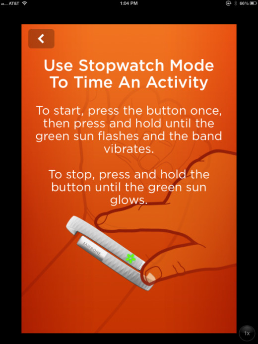 A help screen showing how to use the stopwatch feature
