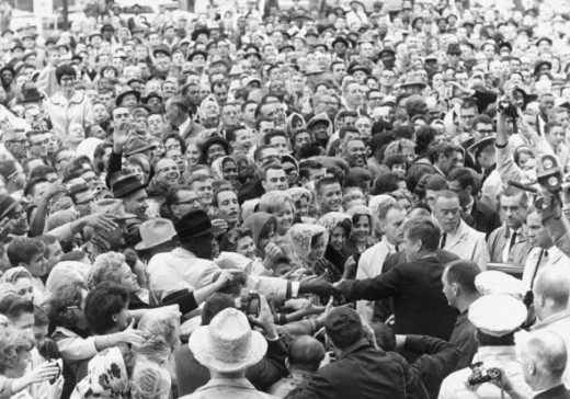 John Kennedy at a rally in Texas, meeting the crowds