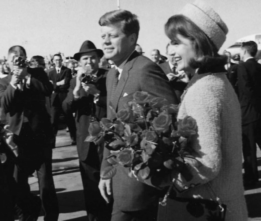 John and Jackie Kennedy arrive is Dallas.