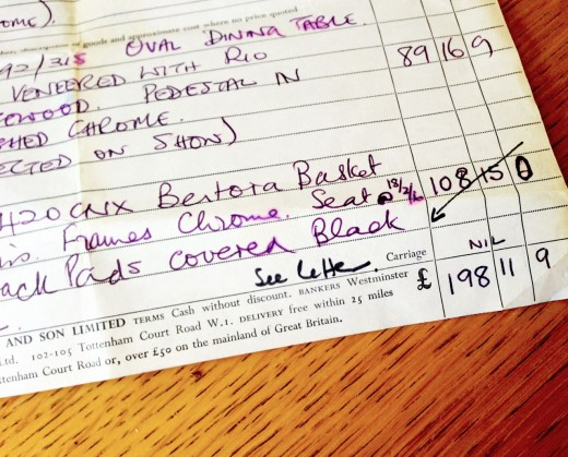 Receipt from the 1960s