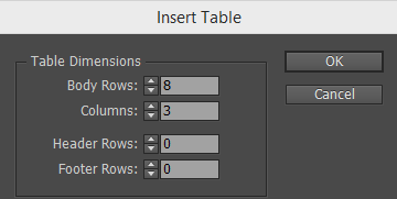 Insert a table and configure the rows and columns