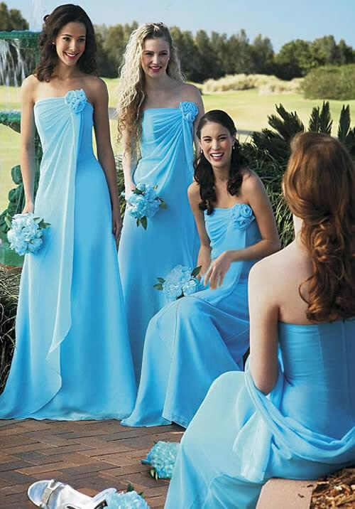 Classic matching bridesmaids gowns.