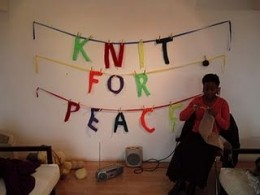 Knit for Peace knitted banner (c) Knit for Peace