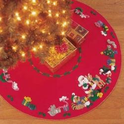 Woodland Holiday Christmas Tree Skirt Felt Kit