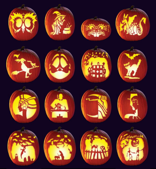 Pumpkins carved using the stencils included with the Grampa Bardeen's Family Pumpkin Carving Set.