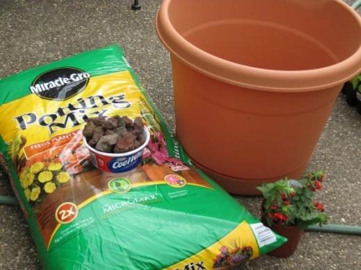 Gather supplies ~ Pot, Potting Soil, Rocks, Plants and shovel