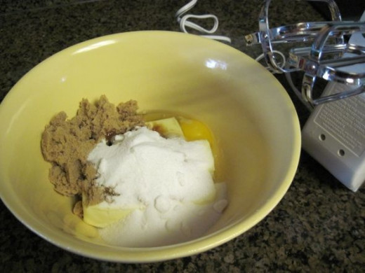 Mix Butter, Brown Sugar, Sugar and Egg together.  Stir in Vanilla