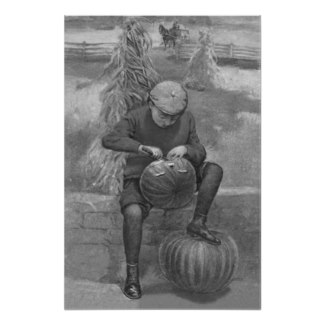 Vintage image of a boy carving a pumpkin.  Click the link to learn more.