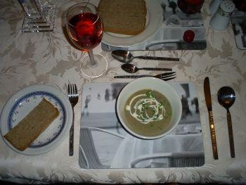 brown mushroom soup with parsley