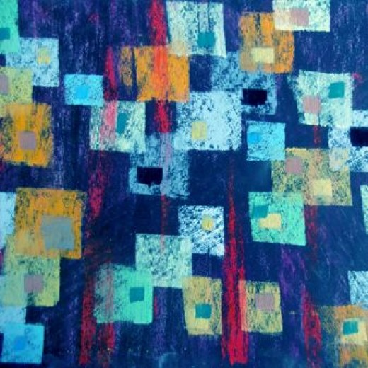 blue rectangles abstract art