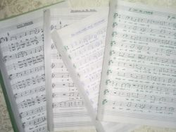 hand written song sheets lyric and top line