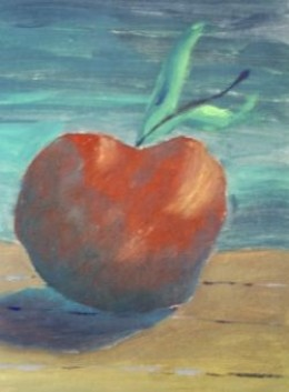 apple in oil on card