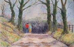 country walk pastel painting