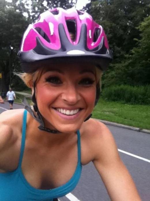 Anna riding a bike