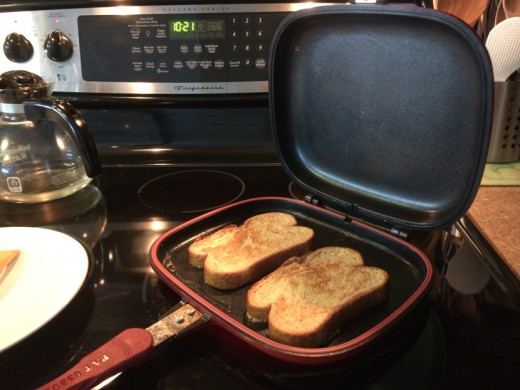 "Flipping is easy with my versatile ""Happycall"" double sided pan!"