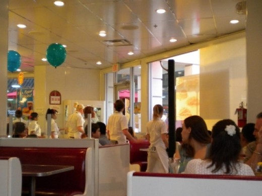 """The Waitresses at Johnny Rockets doing """"The Twist"""""""