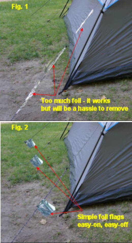 Foil flags on camping tent guy lines