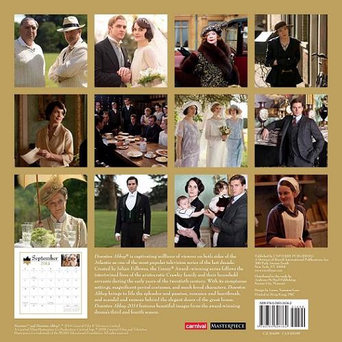 Downton Abbey 2014 Calendar Back
