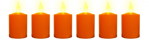 Pumpkin Colored Votive Candles Battery Operated