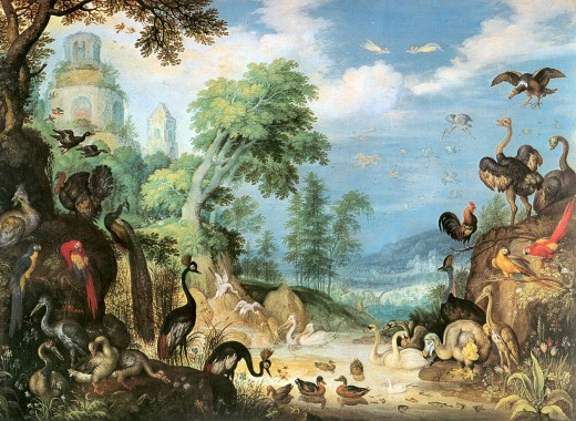 Landscape with Birds by Roelant Savery, public domain