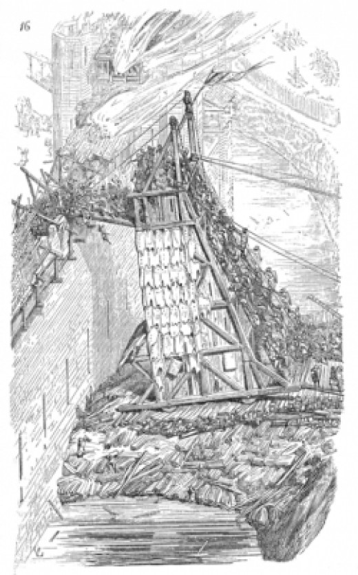 19th century French drawing of a siege engine