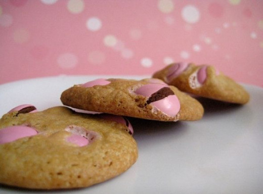 Pretty in pink Valentine's Day M&M cookies