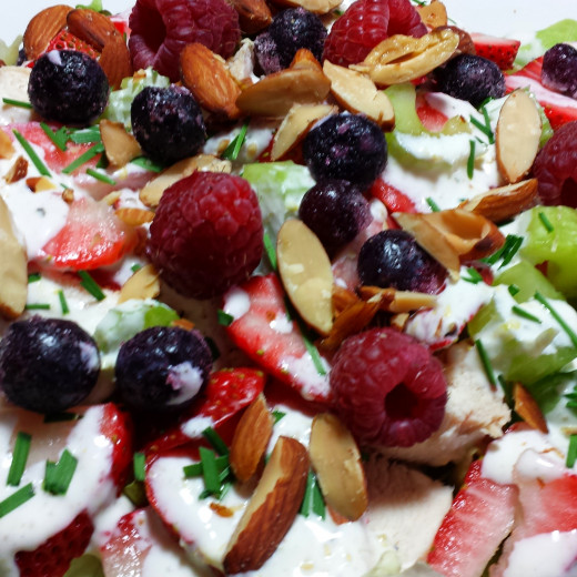 Chicken Berry Salad With Gluten Free Lemon Dressing And Almonds photo by LynnKK