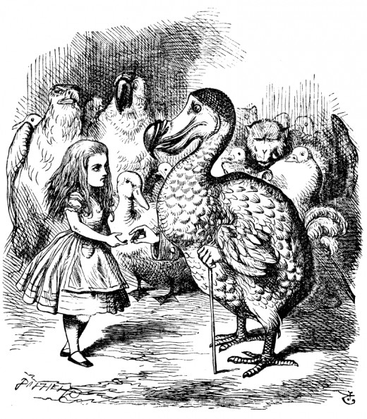 Tenniel's illustration of a Dodo from Lewis Carroll's 'Alice's Adventures in Wonderland', public domain in countries with copyright term of life of author plus 70 years, and in US.