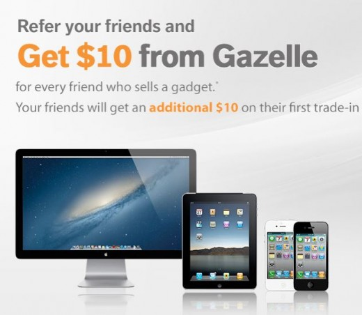 You can get an additional $10 on your first trade in with this link http://gazelle.extole.com/a/clk/1LkVzz and i will get a gift certificate for $10