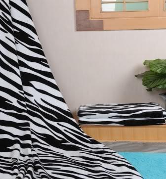Zebra Print Coral Plush Throw Blanket