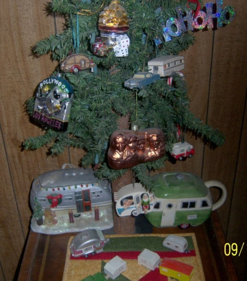 Closeup of some of the ornaments not to mention my vintage trailer toys.