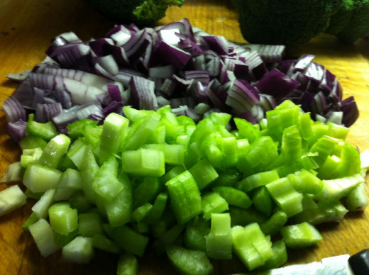Chop celery and onion