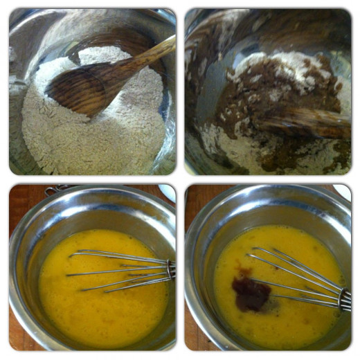 mixing dry ingredients/eggs