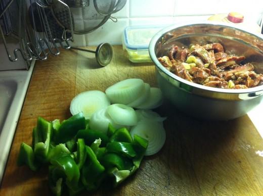 Ingredients ready to stir-fry