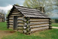 A replica of a cabin at Valley Forge in which soldiers of George Washington's army would have stayed during the winter of 1777-1778.