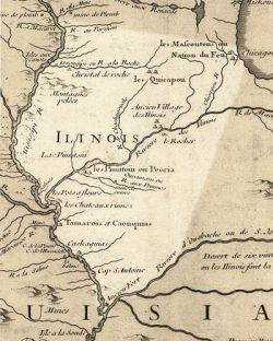 Historic 1718 map of Illinois area