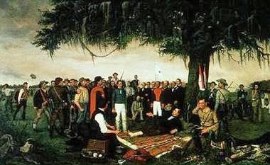 The surrender of Mexican General Santa Anna at the Battle of San Jacinto