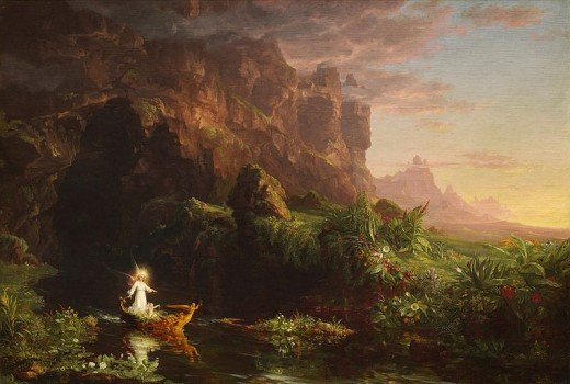 Childhood by Thomas Cole. Nature, spirituality and emotion were important aspects of Romantic Era art as well as poetry.