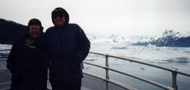 Glaciers in Prince William Sound from tour boat - my wife and I shivering in the cold...  ;-)