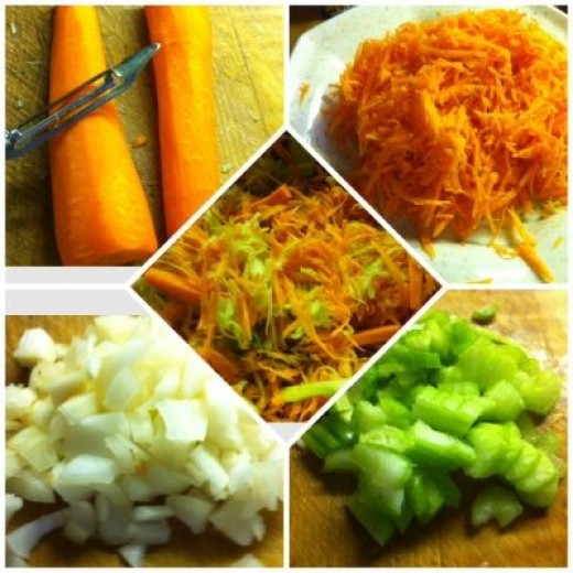 Preparing the carrots, onions and celery