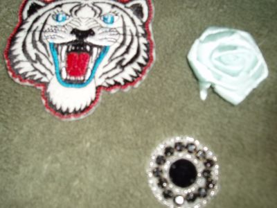 An embroidered tiger, ribbon flower, pre-made beaded embellishment.  All off ebay!