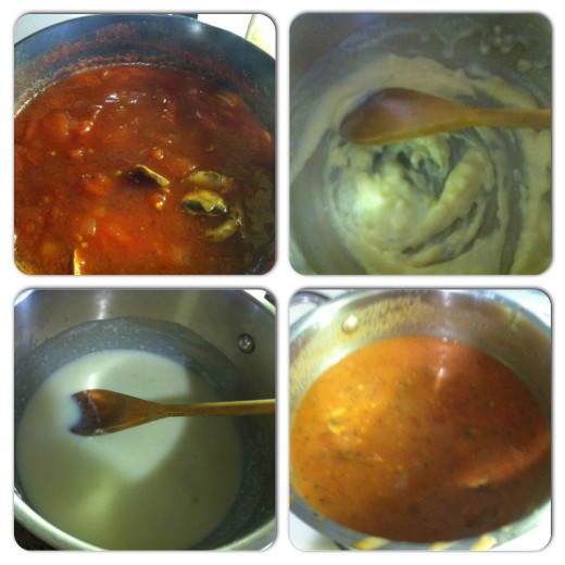 Soup is ready to simmer. Blend flour with butter. Add the milk. Combine with the tomato mixture.