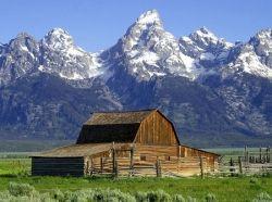 Barn near the Grand Teton mountains