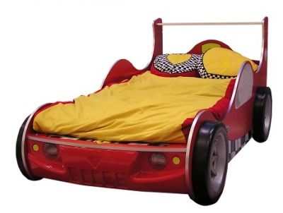 A childs race car bed, perfect for car themed pillowcases