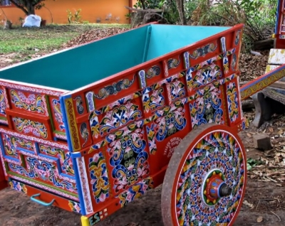 Handmade coffee carts were once used and were pulled by oxen to transport coffee for export, made in Sarchi