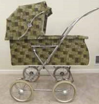 A stylish 1970s fabric coated vinyl printed collapsible carriage, it also converts to a stroller with a series of snaps