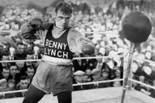 Hall of Fame prizefighter Benny Lynch, seen here hitting a reflex bag, is Scotland's first world boxing champion.