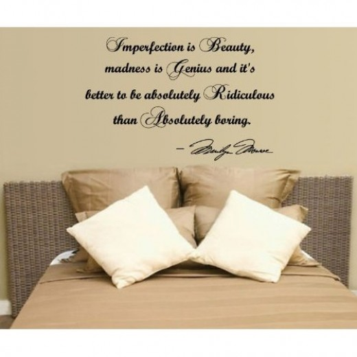 Imperfection is Beauty..Marilyn Monroe Wall Quote