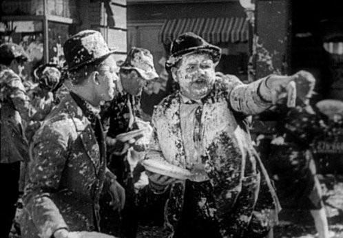 Laurel and Hardy pie fight