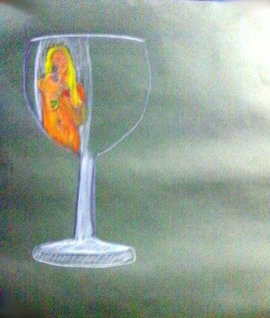 Drawing glass.Thin white lines and filling the glass with the colour of the liquid, subtle if it is a light wine. The reflection you add normally makes up most of the shape of the glass were you stand the glass and what direction your light is comin